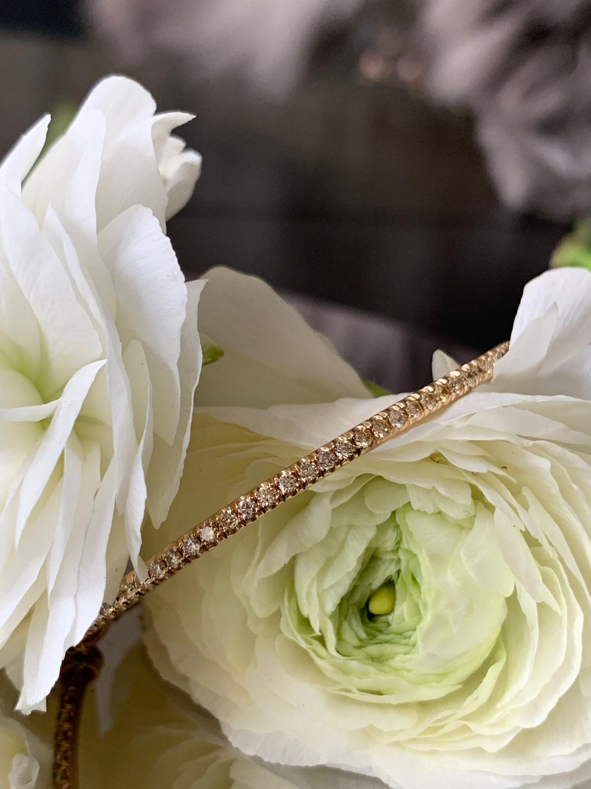 Diamond half bangle in rose gold