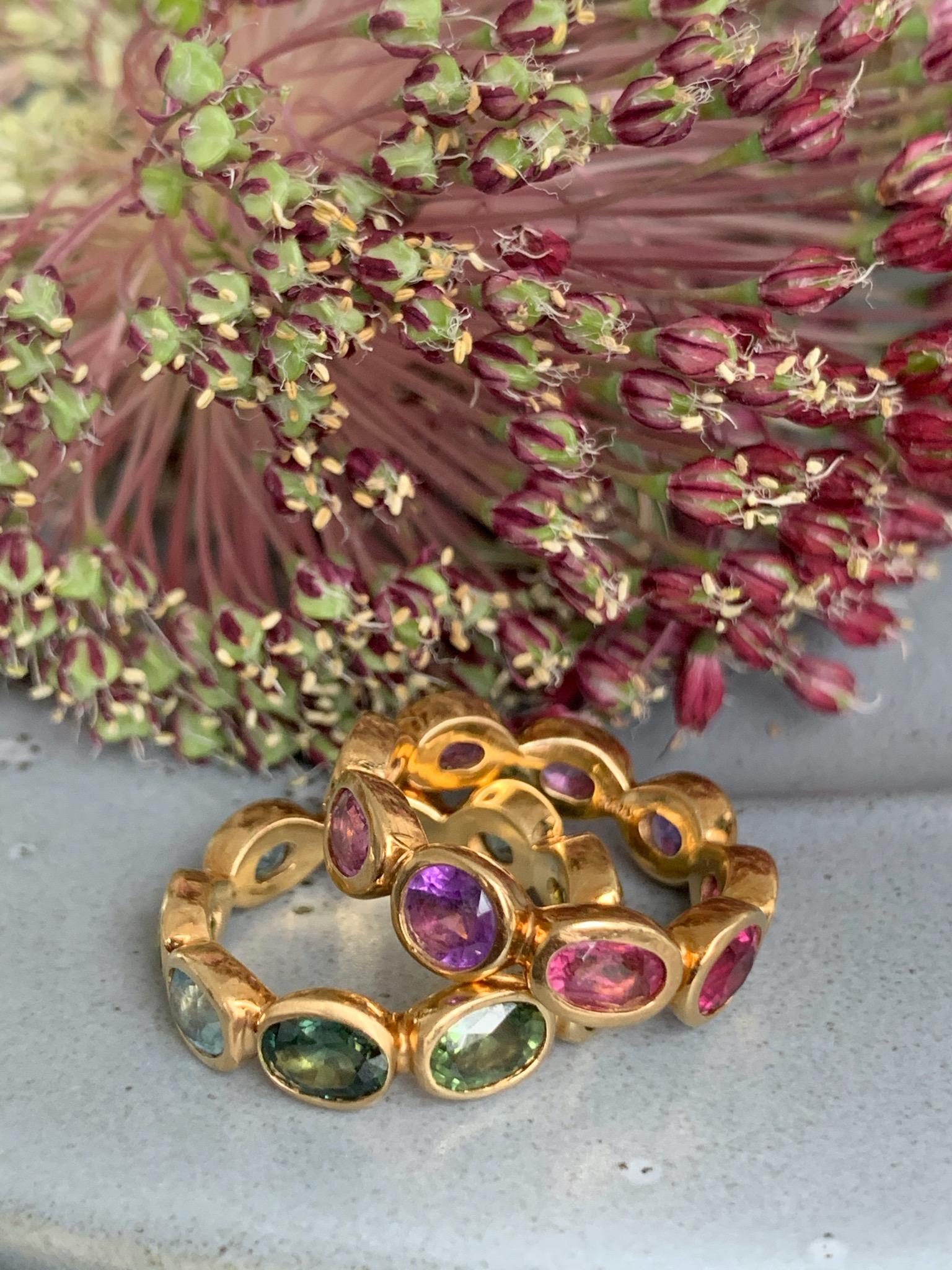 Mixed gemstones in rose gold