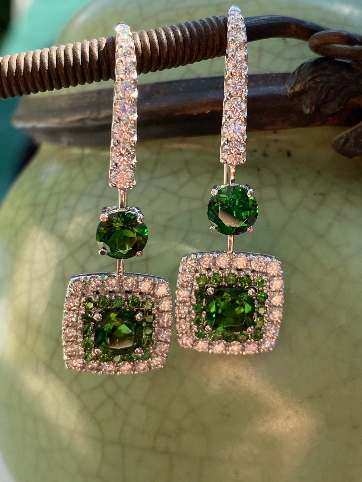 Earrings with emeralds, green tourmalines and diamonds