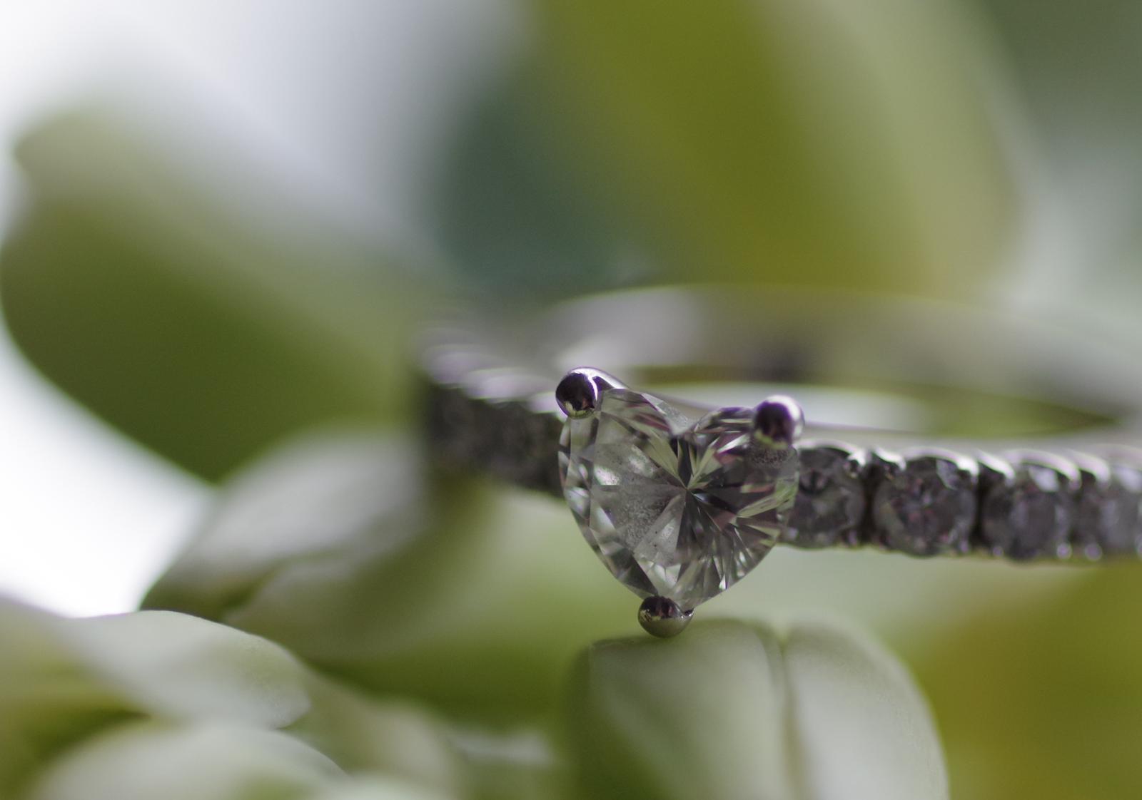 Eternity ring with diamond heart