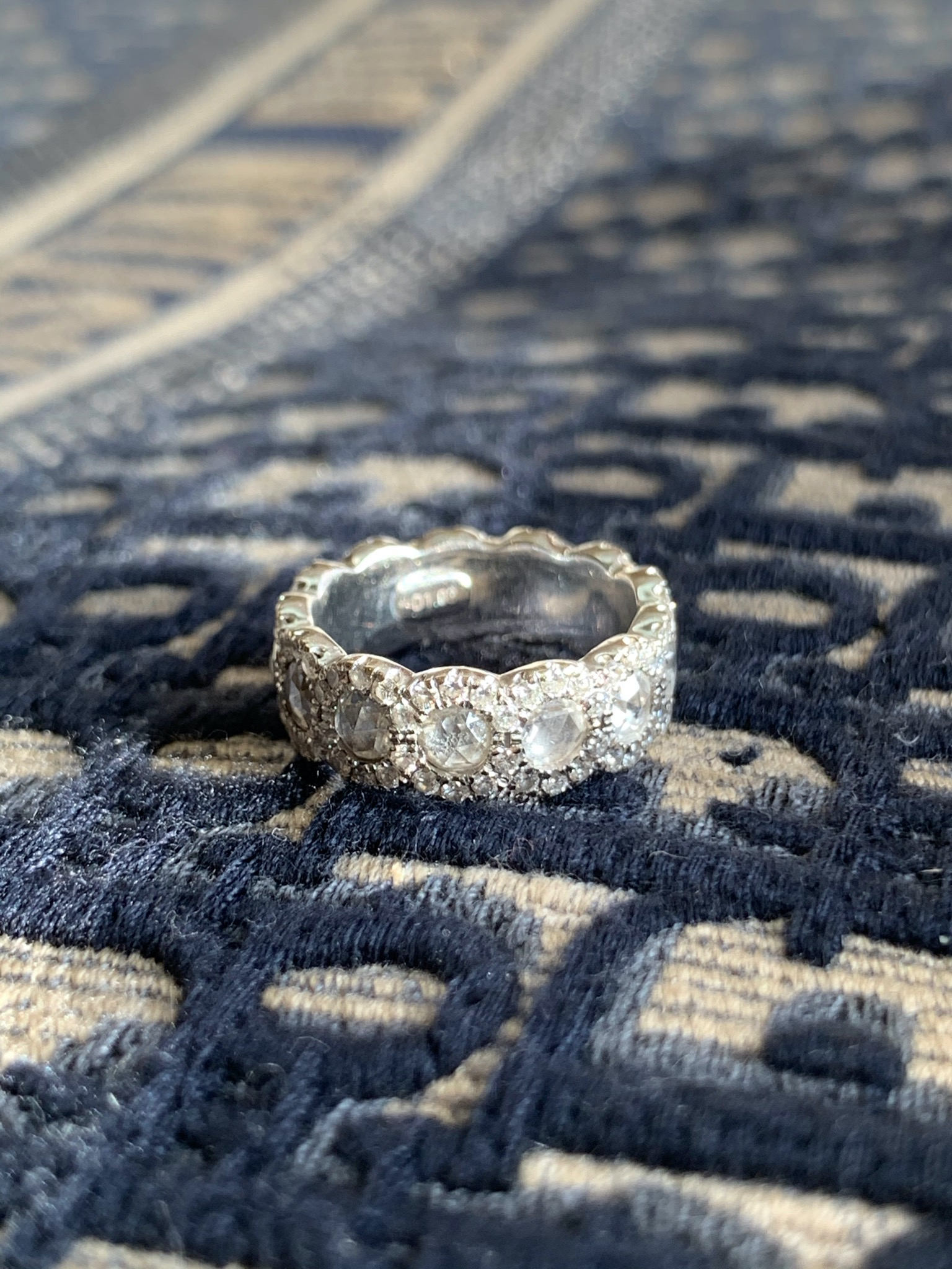 Eternity ring with rose cut diamonds