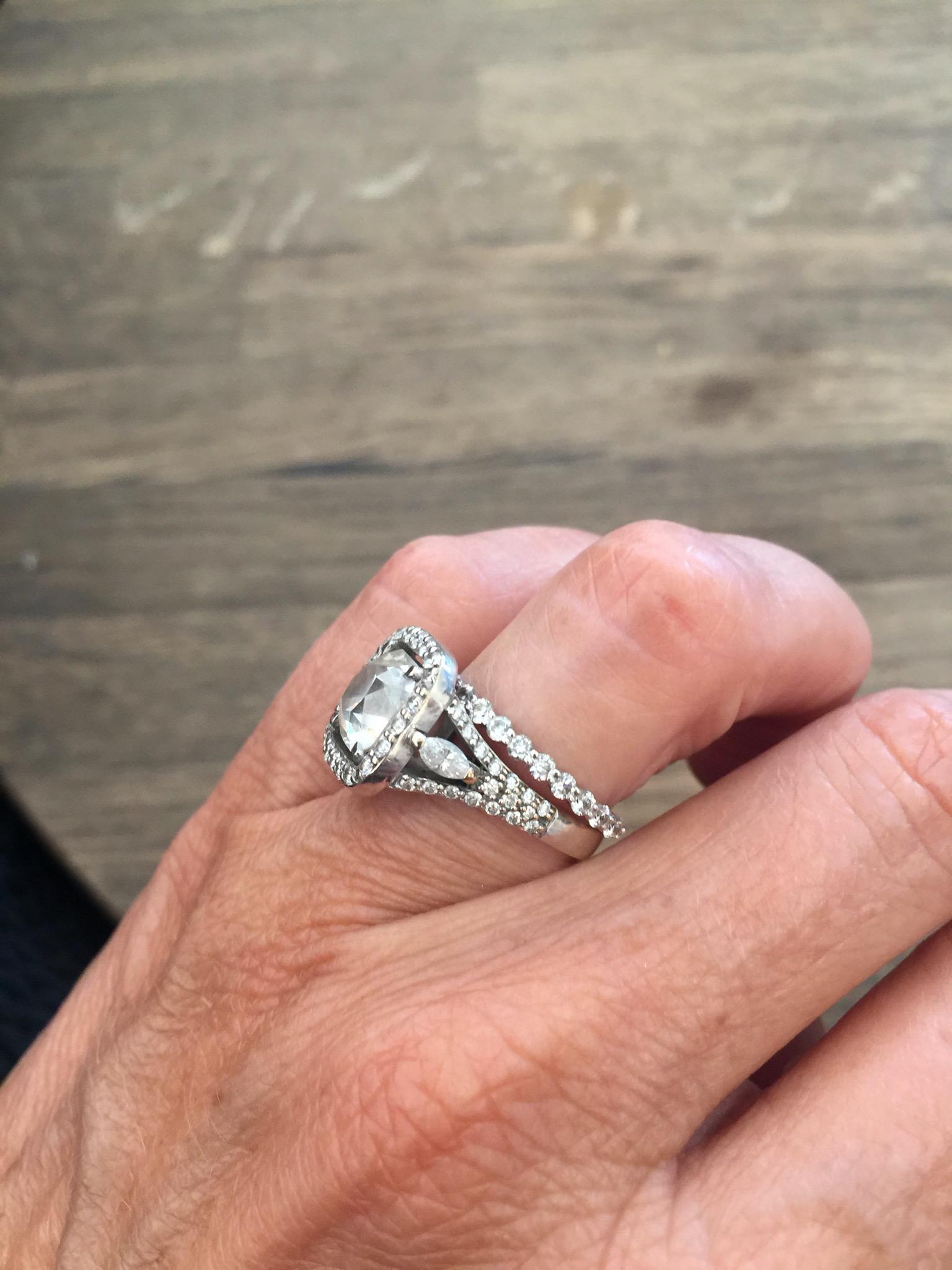 3.2 carat cushion cut diamond ring, with eternity ring
