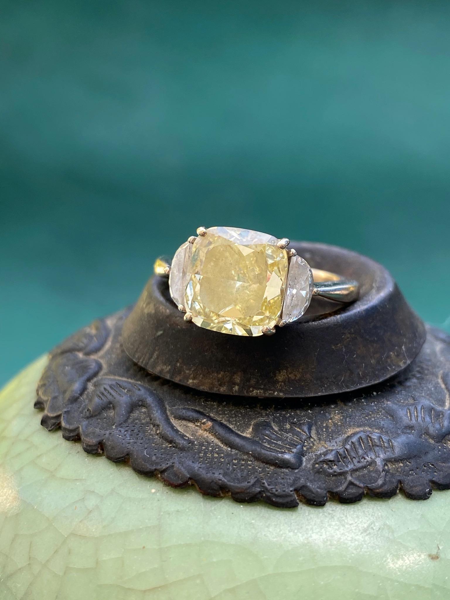 3.3 carat yellow sapphire with half moons