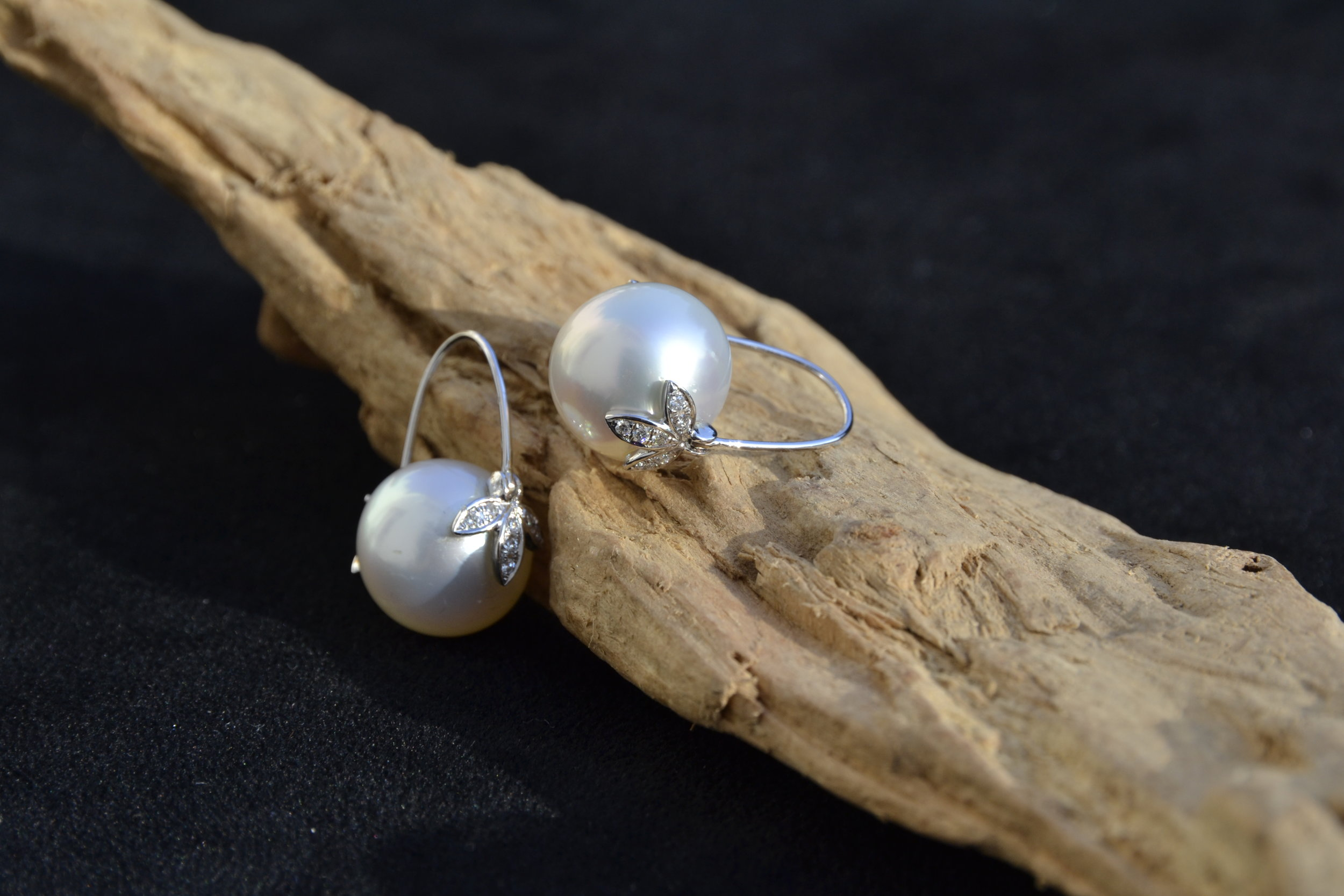 South sea pearls set with diamonds