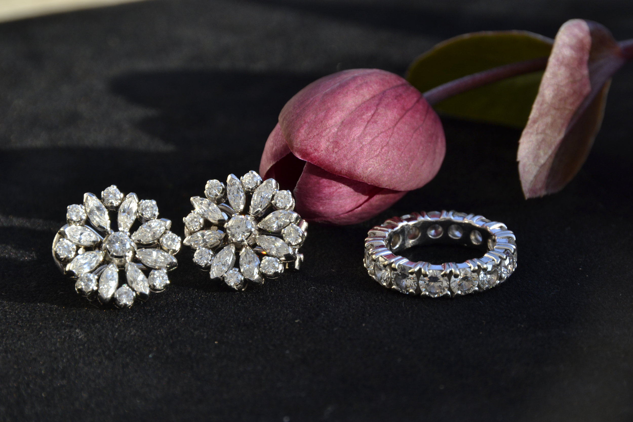 Antique diamond earrings, and eternity ring