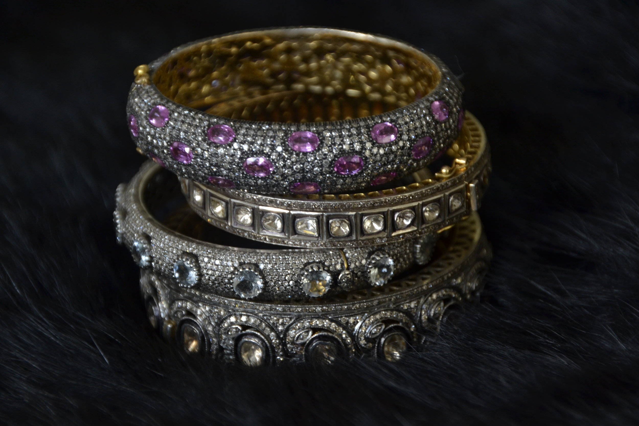 Indian bangles with diamonds and pink sapphires