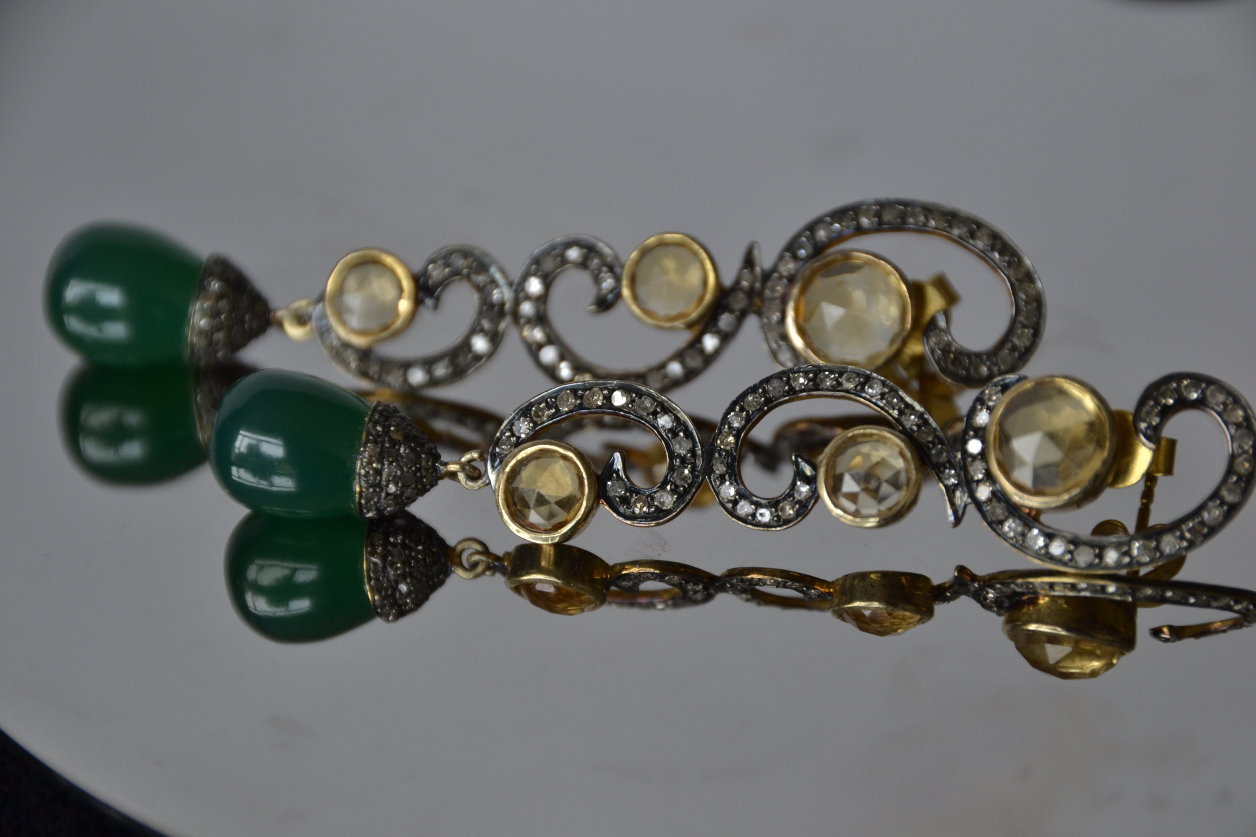 Antique earrings with citrine, green tourmaline and diamonds
