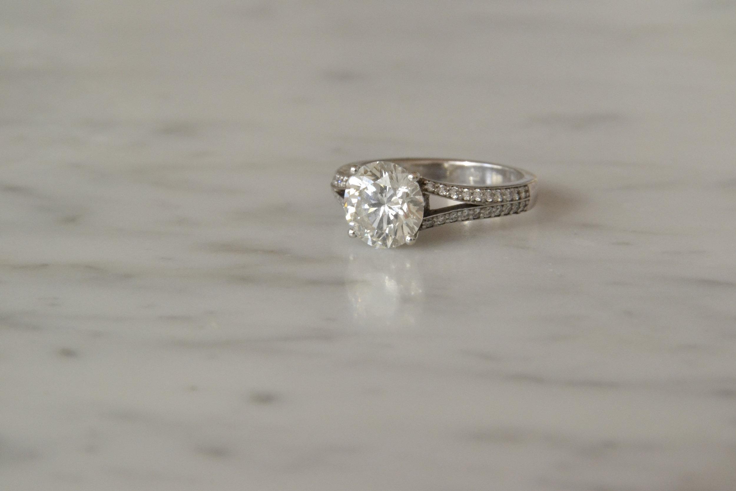 2.1 carat brilliant cut diamond set in white gold