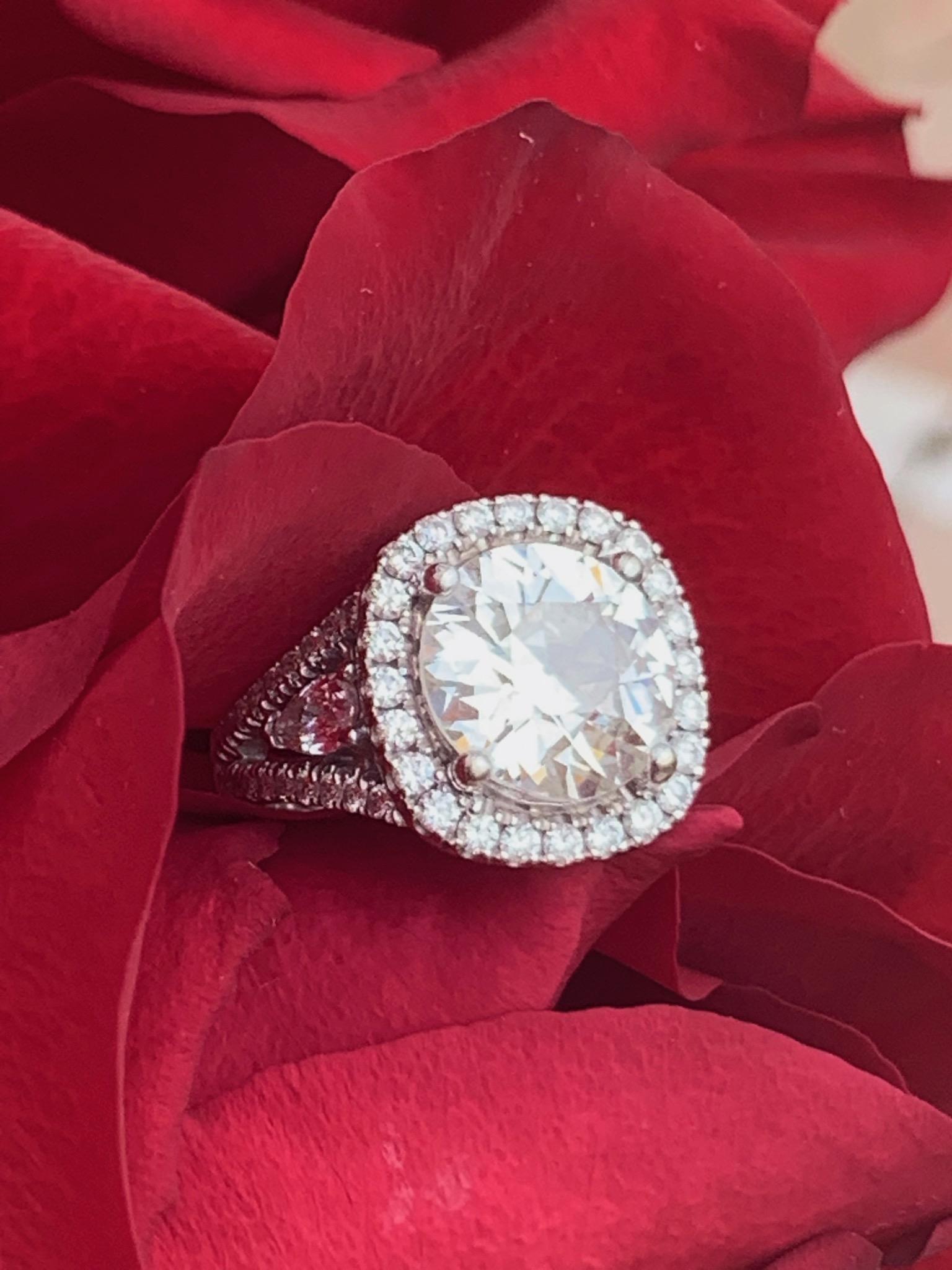 4.4 carat old cushion cut diamond ring