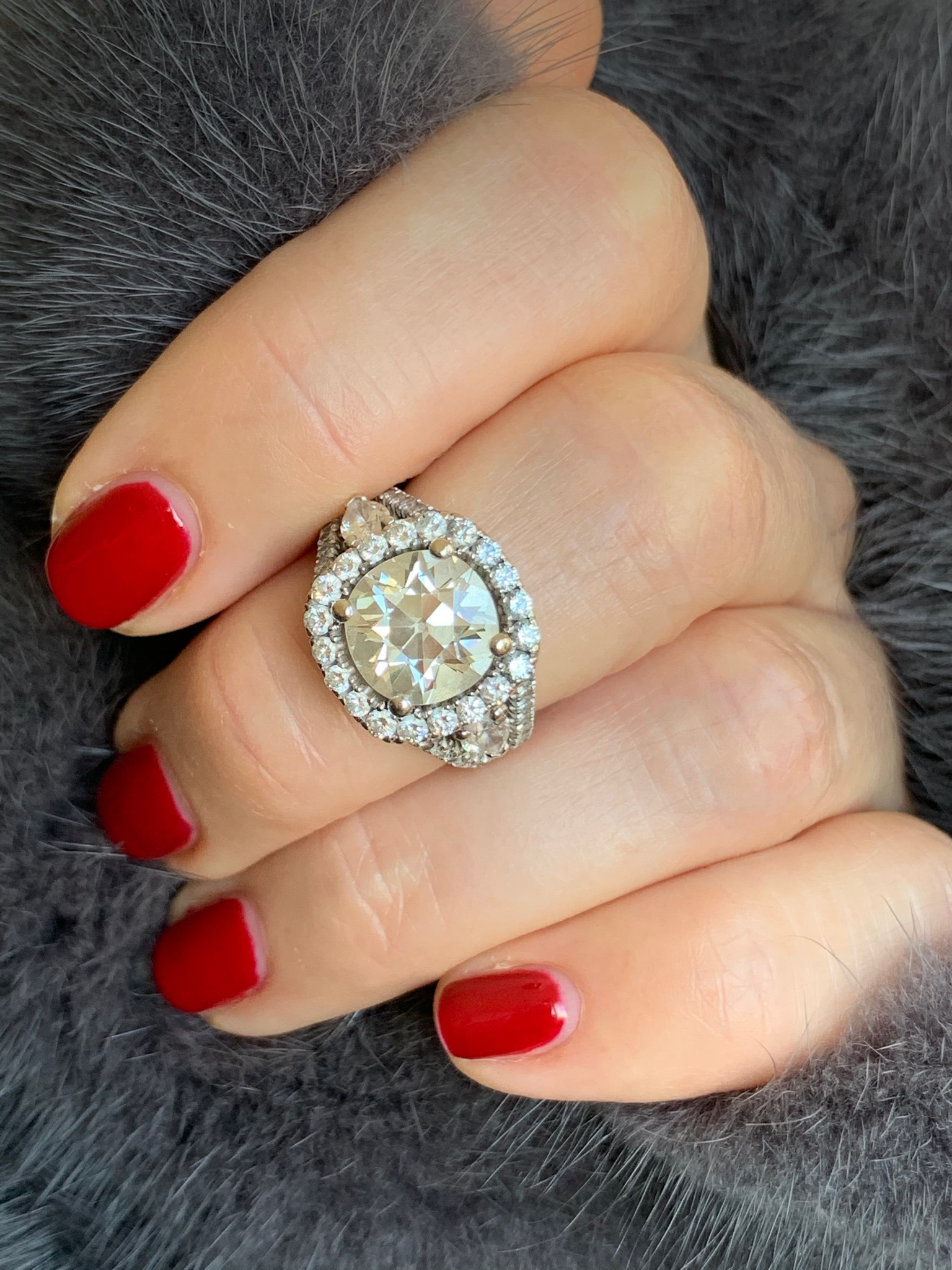 3.3 carat old cut diamond ring