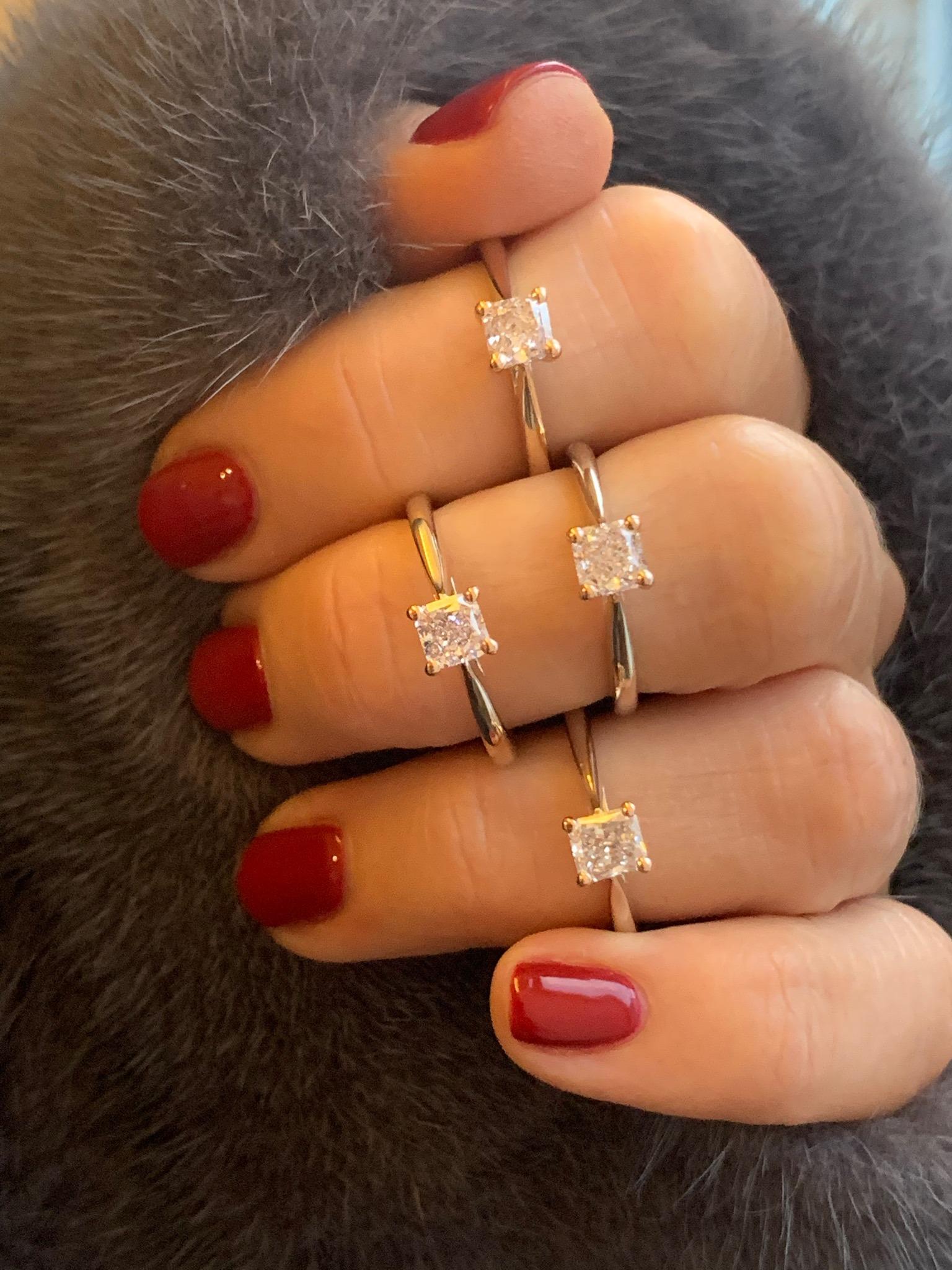 Square and cushion cut pink diamonds