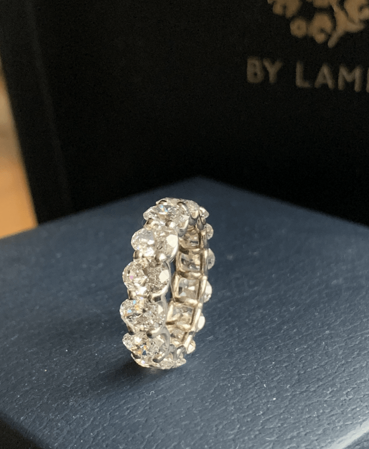Eternity ring with oval cut diamonds