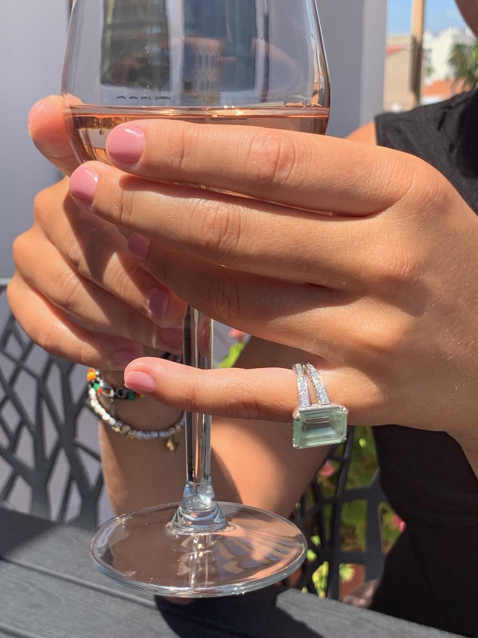 10 carat untreated aquamarine with diamonds in white gold