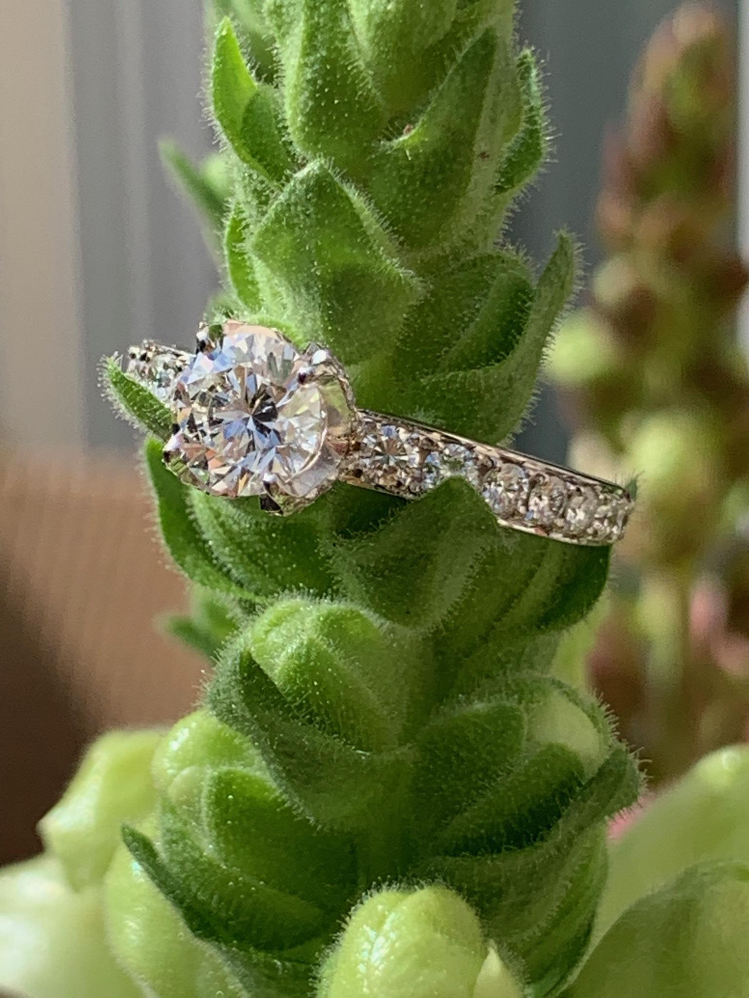 0,9 carat brilliant cut diamond set with lots of diamonds