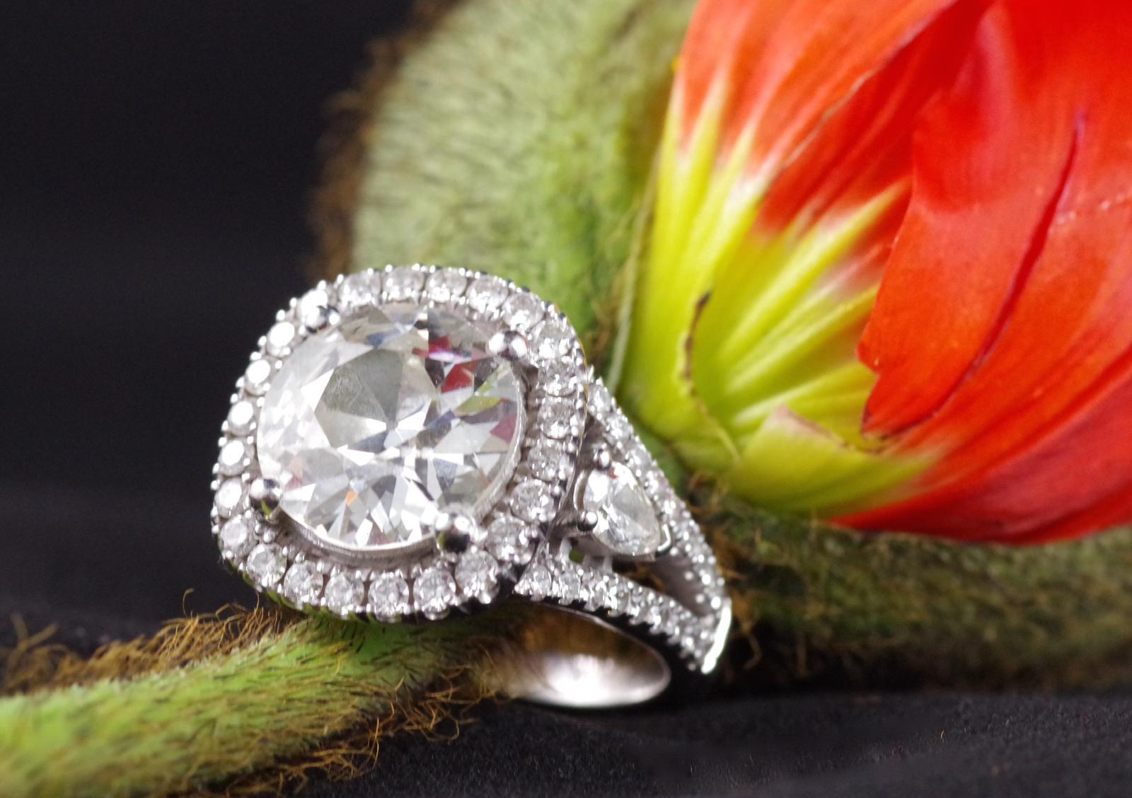 4.4 carat old mine cushion cut diamond ring